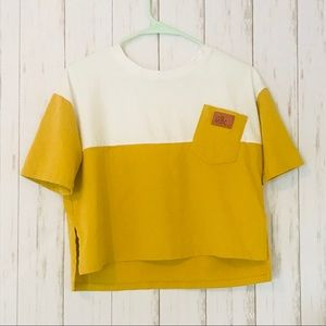 Tops - White/yellow 🍿pocket colorblock cropped tee